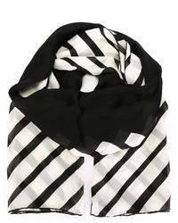 schwarzer und weißer horizontal gestreifter Schal von Valentino
