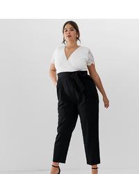 schwarzer und weißer Jumpsuit aus Spitze von Paper Dolls Plus
