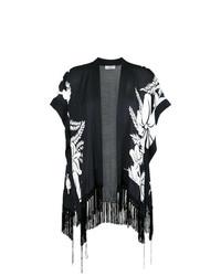 schwarzer und weißer Kimono mit Blumenmuster von Amir Slama