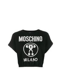 schwarzer und weißer Kurzarmpullover von Moschino