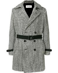 schwarzer und weißer Mantel mit Fischgrätenmuster von Saint Laurent