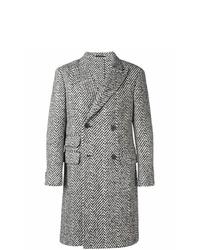 schwarzer und weißer Mantel mit Fischgrätenmuster von Z Zegna