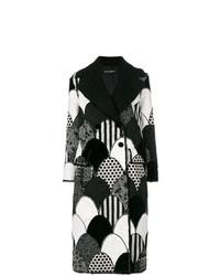 schwarzer und weißer Mantel mit Flicken von Dolce & Gabbana