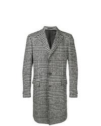 schwarzer und weißer Mantel mit Karomuster von Z Zegna