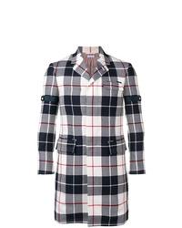 schwarzer und weißer Mantel mit Schottenmuster von Thom Browne