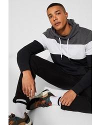 schwarzer und weißer Pullover mit einem Kapuze von edc by Esprit