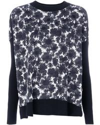 schwarzer und weißer Pullover mit einem Rundhalsausschnitt mit Blumenmuster