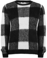 schwarzer und weißer Pullover mit einem Rundhalsausschnitt mit Karomuster