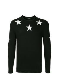 schwarzer und weißer Pullover mit einem Rundhalsausschnitt mit Sternenmuster