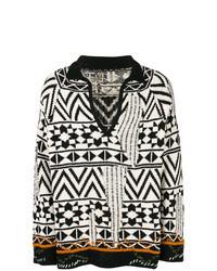 schwarzer und weißer Pullover mit einem V-Ausschnitt