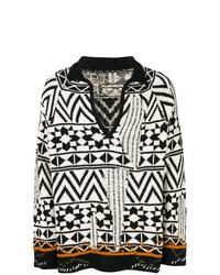 schwarzer und weißer Pullover mit einem V-Ausschnitt von Damir Doma