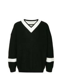 schwarzer und weißer Pullover mit einem V-Ausschnitt von Monkey Time