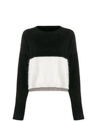 schwarzer und weißer Pullover mit einem Rundhalsausschnitt von Diesel