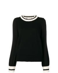 schwarzer und weißer Pullover mit einem Rundhalsausschnitt von Moncler