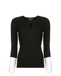 schwarzer und weißer Pullover mit einem Rundhalsausschnitt von Paule Ka