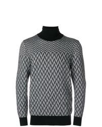 schwarzer und weißer Rollkragenpullover mit geometrischem Muster von Givenchy