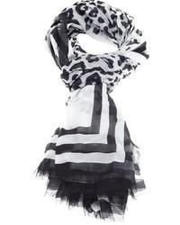 schwarzer und weißer Schal mit Leopardenmuster von Marc Jacobs