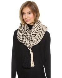 schwarzer und weißer Strick Schal von Paula Bianco