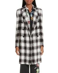 schwarzer und weißer Tweed Mantel mit Karomuster