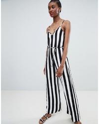 schwarzer und weißer vertikal gestreifter Jumpsuit von New Look