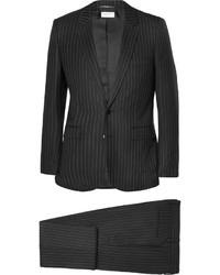 schwarzer vertikal gestreifter Anzug von Saint Laurent