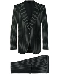 schwarzer vertikal gestreifter Dreiteiler von Dolce & Gabbana