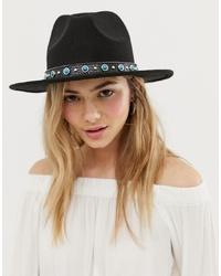 schwarzer verzierter Hut von 7X