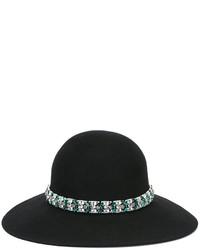 schwarzer verzierter Hut von Lanvin