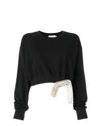 schwarzer verzierter kurzer Pullover von Act N°1