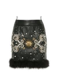 schwarzer verzierter Leder Minirock von Fausto Puglisi