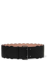 schwarzer verzierter Leder Taillengürtel von Alaia