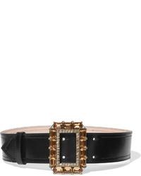 schwarzer verzierter Leder Taillengürtel von Alexander McQueen