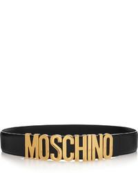 schwarzer verzierter Leder Taillengürtel von Moschino