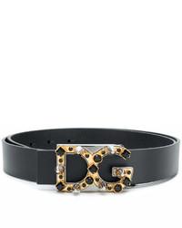 schwarzer verzierter Ledergürtel von Dolce & Gabbana