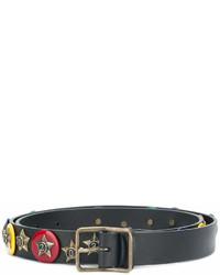 schwarzer verzierter Ledergürtel von DSQUARED2
