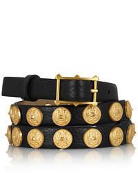 schwarzer verzierter Ledergürtel von Valentino