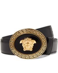 schwarzer verzierter Ledergürtel von Versace