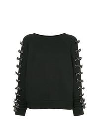 schwarzer verzierter Pullover mit einem Rundhalsausschnitt von Tu Es Mon Trésor