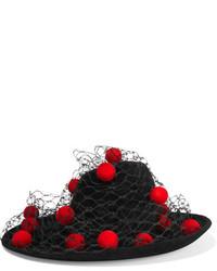 schwarzer verzierter Wollhut von Philip Treacy