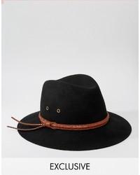 schwarzer Wollhut von Reclaimed Vintage