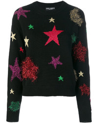 schwarzer Wollpullover mit Sternenmuster von Dolce & Gabbana