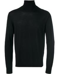 schwarzer Wollrollkragenpullover von Emporio Armani