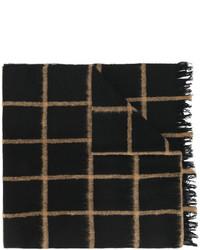 schwarzer Wollschal mit Schottenmuster von Dondup