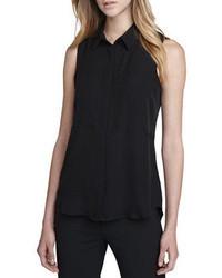 schwarzes ärmelloses Hemd