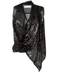 schwarzes ärmelloses Oberteil aus Pailletten von Victoria Beckham