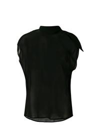 schwarzes ärmelloses Oberteil aus Seide von MM6 MAISON MARGIELA