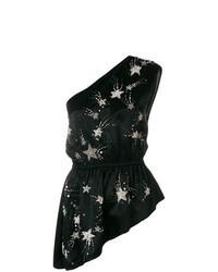 schwarzes ärmelloses Oberteil mit Sternenmuster