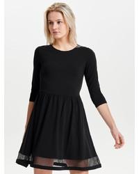 schwarzes ausgestelltes Kleid aus Netzstoff von Only