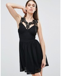 Schwarzes Ausgestelltes Kleid aus Seide von Club L