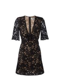 schwarzes ausgestelltes Kleid aus Spitze mit Blumenmuster von Saint Laurent